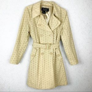 Terry Lewis yellow floral pea coat with belt
